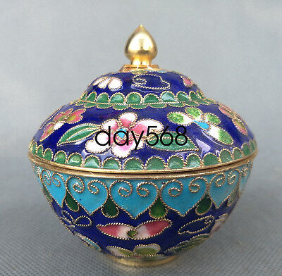 Chinese Decorated Collection Exquisite Cloisonne bowl Cup blue w644