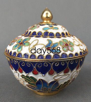 Chinese Decorated Collection Exquisite Cloisonne bowl Cup white w645