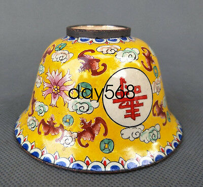 Chinese Decorated Collection Exquisite Cloisonne bowl Cup bat 寿