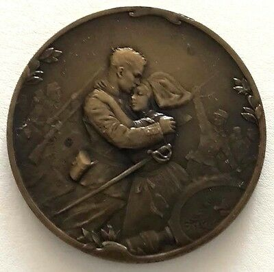 1915 French Bronze Medal Issued World War I Service by Joe Descomps 50 mm / N141