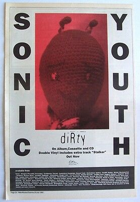 SONIC YOUTH 1992 Poster Ad DIRTY