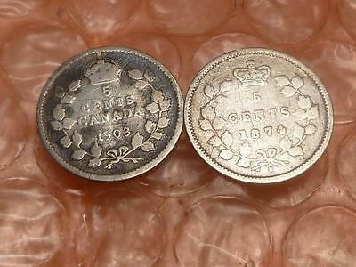 Canada 1874 H & 1903 5 Cents Better Date Coins #2