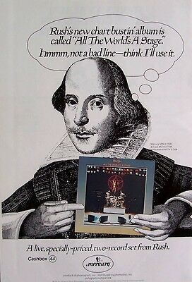 RUSH 1976 Poster Ad ALL THE WORLD'S A STAGE shakespeare