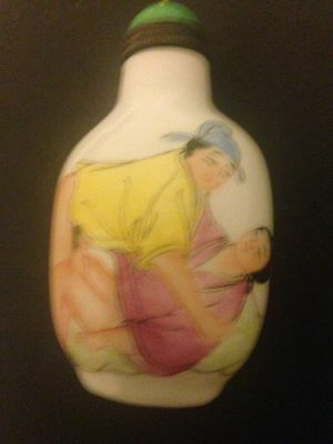 Porcelain  Hand Painting EROTIC Statue Snuff Bottle