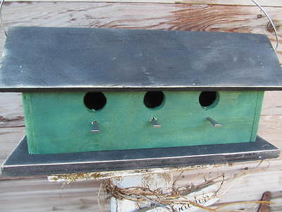 Primitive Dark Green and Black Birdhouse Three Compartment