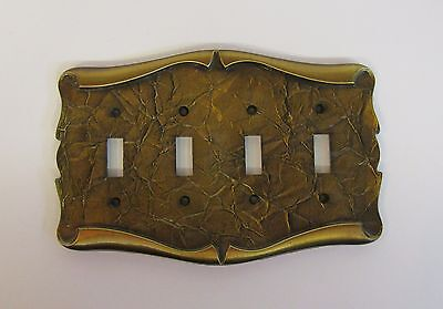*** Vintage Amerock Carriage House Antique Brass Finish Quad Switch Cover ***