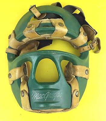Vintage MacGregor Face Mask Leather Trim Baseball Softball Catchers Umpire Green