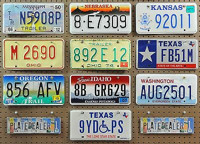 10 Mixed State License Plates Signs Tags MS NE KS OH OH TX OR ID WA TX Lot 908