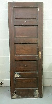 Narrow Antique 5 Panel Door Solid Pine 26 By 74 Inches