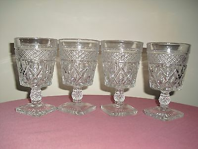4 IMPERIAL Cape Cod Clear Glass Wine / Water Goblets