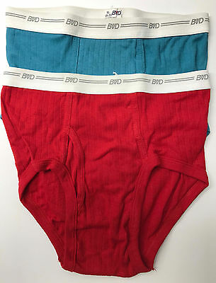 2 Vintage Pairs 1980's Boys BVD Ribbed Briefs Size XL Dead Stock