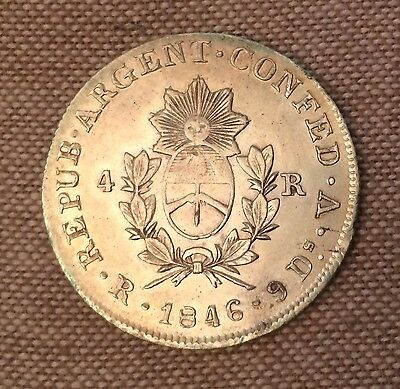ARGENTINA. La Roja. 4 Reales, 1846-RV. About Extremely Fine
