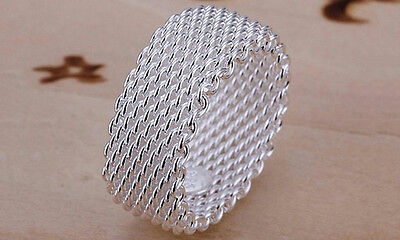 NEW Sterling Silver Woven Mesh Ring Size 7