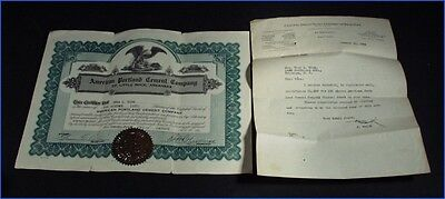 1929 American Portland Cement Co. Little Rock, 100 Shares Stock Certificate