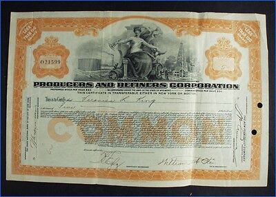 1924 Producers And Refiners Corporation 5 Shares Common Stock Certificate