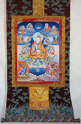 "26"" Natural Mineral Color Tibetan Thangka Poster : Eight Forms Of Padmasambhava"