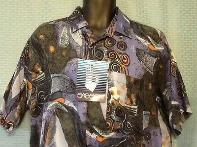 Vintage 80s Sasson Mens Large 100% Rayon Button Front Short Sleeve Shirt New NWT