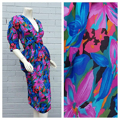 Vintage 1980s Tropical Floral Print Wrap Peplum Waist Midi Dress Small Medium