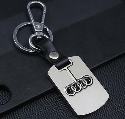 Fashion Men Double Ring Car Logo Metal Leather Key chain Holder For audi