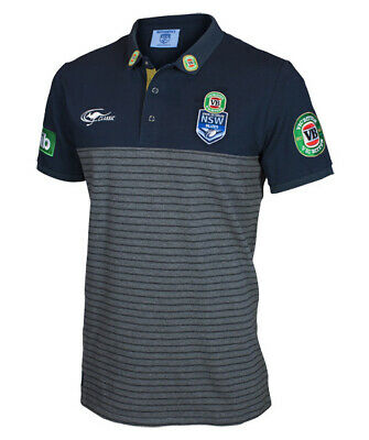 NSW Blues State Of Origin 2017 Players Striped Knit Polo Shirt Sizes S-5XL!
