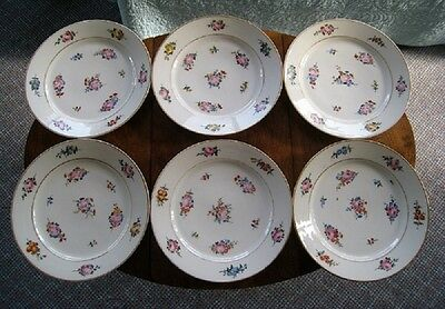 French Paris Porcelain Vieux ? Set of 6 Floral Signed Marked Plates 19th Century