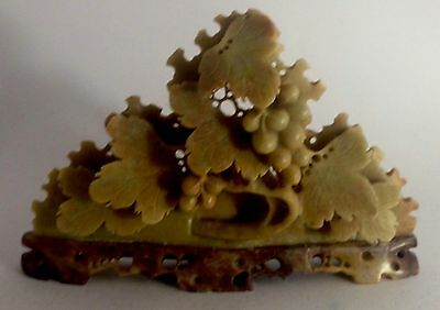Antique Chinese soapstone carved grapevine clusters statue