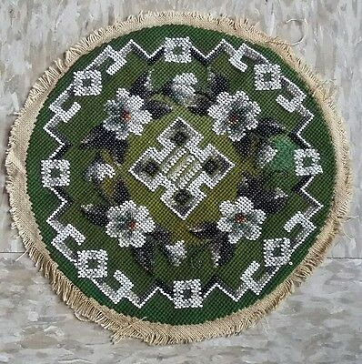 Antique Victorian Micro Green BLk White Glass Seed Bead Ornate Panel BEAUTIFUL!