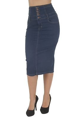 N925A-SK-LONG - Women's Juniors High Waist Long Pencil Skirt