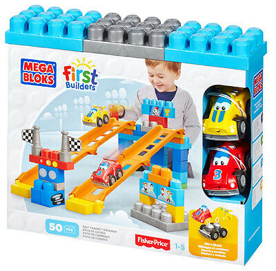 Mega Bloks First Builders Fast Tracks Raceway 50 Pcs Building Blocks 81266