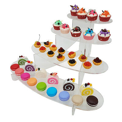 New! Cupcake/sushi/hors D'oeuvres/dessert Display 4 Tier Stand - Acrylic Shelf