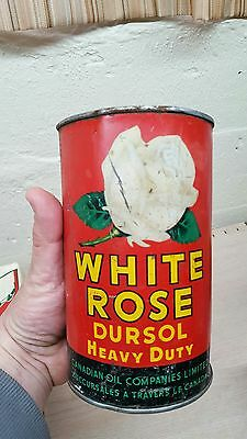 VINTAGE ADVERTISING WHITE ROSE DURSOL Motor Oil sign tin canadian can