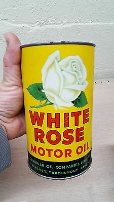 VINTAGE ADVERTISING WHITE ROSE Motor Oil sign tin canadian can