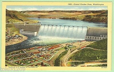 """Vtg Linen PC """"Transmission Towers Frame the Grand Coulee Dam, Wash. -221"""" db/up"""