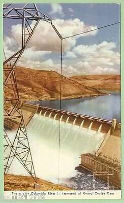 """Vtg Armed Svcs. Litho PC """"...Grand Coulee Dam"""" db/up/ca. WWII"""