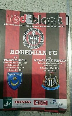 BOHEMIANS V PORTSMOUTH & NEWCASTLE OFFICIAL MATCH PROGRAMME 9/16th JULY 2016