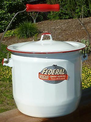 Ca.1950'S White Enameled Metal FEDERAL VOGUE Combinet-Diaper Pail - made in USA!