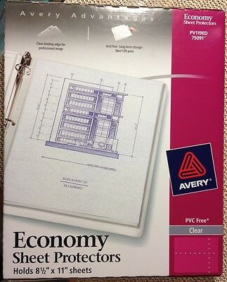 Avery Page Sheet Protectors 8.5 x 11, 3 Ring, Clear, Qty 40, 75091