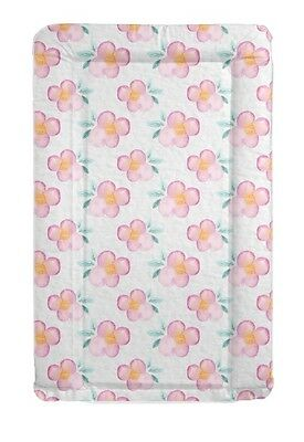 Pink Floral Baby Change Mat Padded Raised Sides Changing Mat Wipe Clean