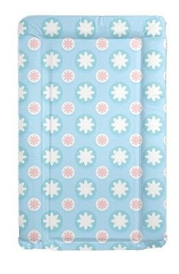 Blue Pattern Baby Change Mat Padded Raised Sides Changing Mat Wipe Clean New