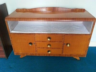 Retro Sideboard / Buffet Glass Front with Two cupboards & Three Drawers