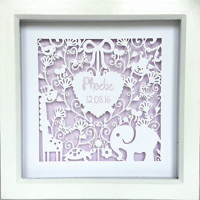 New Baby personalised box frame picture, handmade
