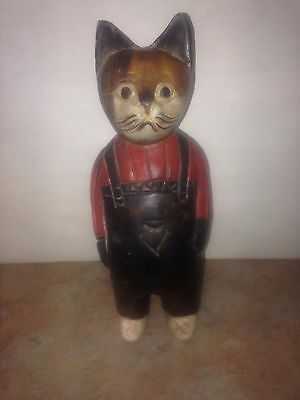 """12"""" Antique Hand Carved Solid Wood Kitty  Statue"""