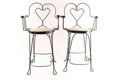 Antique Billiards Parlor Pool Hall Twist Wire Tall Heart Back Chairs Oak Arm Res