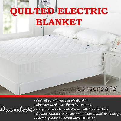 Diamond Quilted Electric Heated Blanket Underblanket Fully Fitted Washable
