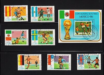 Soccer Game Mexico 86 Souvenir sheet, Complete Set of 7, Flags Spain, Chile,..