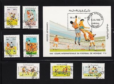 Soccer Game Mexico 86 Souvenir sheet, Complete Set of 7, Afghanistan