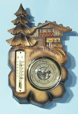 "Vintage German Carved ""Chalet"" Wall Barometer - thermometer"