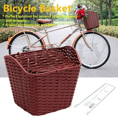Bicycle Electric Bike Basket Plastic Storage Holder Weaving Removable Shopping