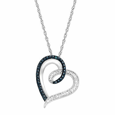 """Heart Pendant Necklace with Blue and White Diamonds in Sterling Silver, 18"""""""