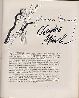 CHARLES MUNCH signed autographed musical program 1946-  50 pages